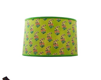 Large Green Drum Lamp Shade: Drum Lamp Shades, Large Lamp Shades, Green Lamp Shade, Unique Lamp Shades, Designer Lamp Shades