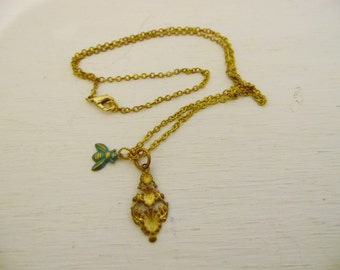 "Sea Foam Green and Gold Bee and Gold Flower Charm Necklace with a 24"" Gold Chain"