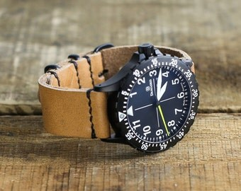 Leather Watch Band // Horween Leather Strap in Natural Essex // PVD Hardware Metal Slides