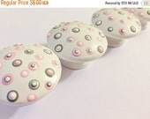 CLEARANCE Adorable Pink and Grey Dot Drawer Knobs