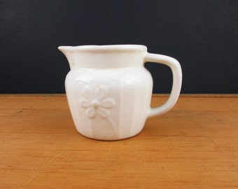 """Creamer - 3 1/4"""" Tall - Off-White Pitcher Perfect for Syrup, Buttermilk, etc.  - Usable - White on White - Embossed Daisy"""