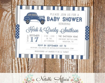 Gray and Light Navy Antique Car Stripes and Polka Dots Baby Shower invitation - choose your colors - Antique Car Baby Shower