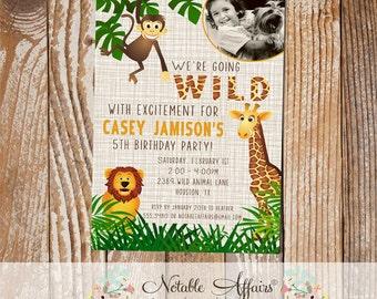 Wild With Excitement Jungle Theme Zoo Animal Birthday Party Invitation with photo - Zoo Birthday - Jungle Birthday