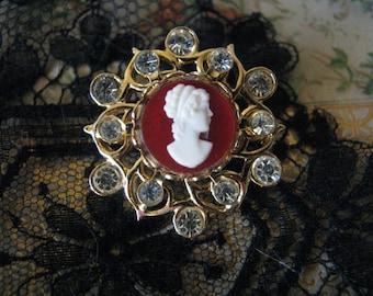 Vintage Victorian Style Plastic Cameo Rhinestone Brooch Pin