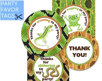 REPTILE Party Favor Tags - Lizard, Snake, Frog, Reptile Favor Tag, Reptile Tags, Birthday, Cupcake Toppers, Printable Favor Tag
