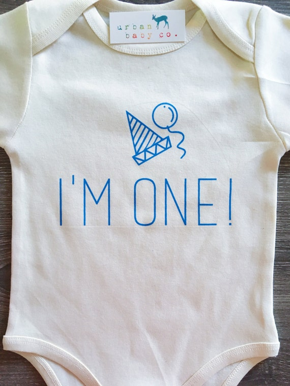 I'm One Blue Baby, Boy, Infant, Toddler, Newborn, Organic, Ecofriendly, Fair Trade, Birthday, Bodysuit, Outfit, One Piece, Tee, Clothes