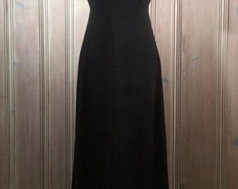1970's Ruffled Long Black Dress