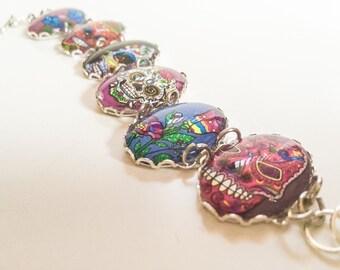 Sugar Skull Cameo Bracelet Day of the Dead Rockabilly Paychobilly Jewelry Jewellery Accessories