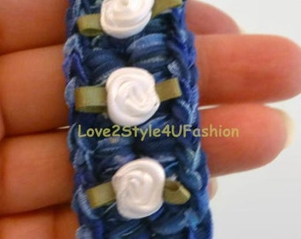 Unique Bracelet - Womens Blue Statement Bracelet - Crochet Jewelry - Woven Bracelet - Blue Bracelet - Mix Media Jewelry - Silver Chain