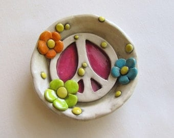 Peace Sign Ring Dish, Bright Flowers Peace Sign trinket dish, Peace Sign