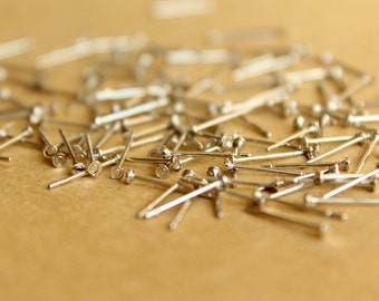 100 pc. Silver Plated Earring Posts, 2mm pad | FI-222-2