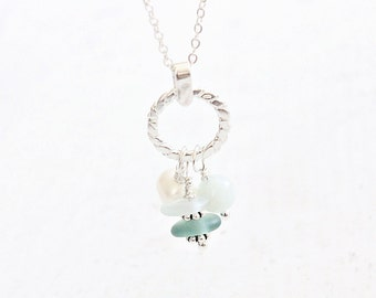 Cluster Sea Glass Necklace Sterling Beach Glass Necklace, Pearl and Sea glass Pendant