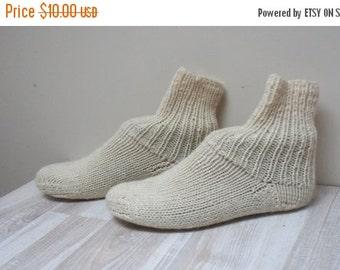 HALLOWEEN SALE Women wool Socks hand knitted Leg warmers Stockings slippers size 4 5 white handmade teenager ready to ship milk off cream ca