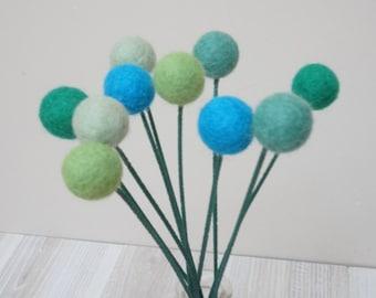 Felt pom pom flowers craspedia bouquet multicolor wool balls turquoise teal green aqua arrangement stem floral Easter Billy buttons