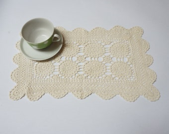 Off White crochet runner Coaster mat pad table placemat doily folk style flower openwork long granny square small cotton cream ecru taupe