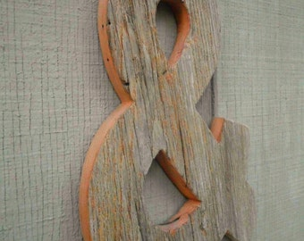 Rustic Barn Wood Letter Ampersand / Wall Decor / Unfinished Wood Letter / Wedding Prop