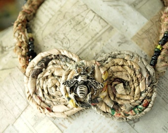 Recycled Necklace, Paper Jewelry, Bee Necklace, Eco Friendly Jewelry, Rolled Paper Art, Bumble Bee, Recycled Newspaper, Eco Fashion