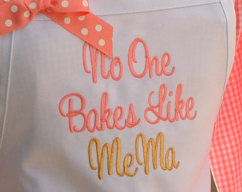 NO ONE Bakes Like Mema Apron with Gold Metallic Thread - Sweet Script - Choose your nickname - Grandma, Mom, Mommy, Nonna Mother's Day Apron
