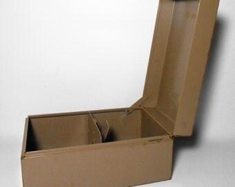 Vintage File Box, Steelmaster, Metal Box, Recipe Card Holder, Recipe Box, Tan, Index Card Holder, Office Supplies, Desk Supplies, Equipment