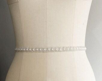 Thin Beaded Bridal Belt Sash - Wedding gown sash - Wedding Belt, Crystal Rhinestone Belt, Bridesmaids, MOH | ALYSSA