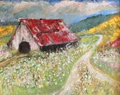 Georgia Cotton. Print. Old Barn with the Georgia Cotton and the Blue Ridge Mountains. Gallery Wrapped Canvas-No Frame Needed.