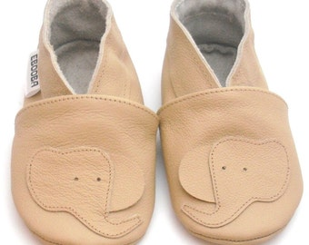 soft sole baby shoes leather infant children elephant beige 18-24 bebes fille cuir souple chaussons Krabbelschuhe porter ebooba EL-39-BE-T-4