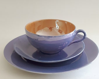 Teacup Trio Set, Blue and Peach Luster