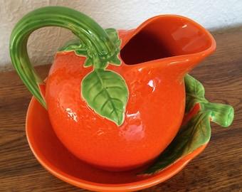 Vintage Figural Orange Pitcher & Bowl Set- Japan Ceramic