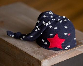 Newborn Hat Upcycled Newborn Hat Red White Blue Patriotic Ready to Ship Hat Nautical Photography Prop Newborn Boy Hat Boy Hats Neutral Hat