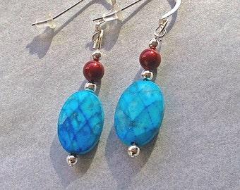 Turquoise Howlite Earrings, Dangle and Drop Earrings, Sterling Silver Ear Hooks, Garnet Swarovsk Glass Pearls 6mm