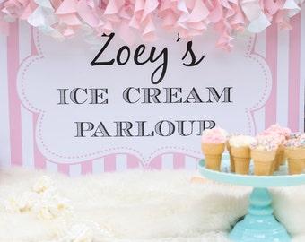 Ice Cream Parlour Birthday Back Drop Banner. Kid's Ice Cream Birthday or Sundae party. {PRINT & SHIP} Birthday Party or Baby Shower decor