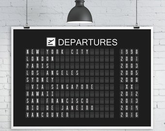 Airport Departures Board Print, Split-Flap Display, Various sizes, Personalized Travel Art Print