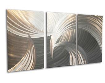 Metal Wall Art Aluminum Decor Abstract Contemporary Modern Sculpture Hanging Zen Textured - Tempest 47