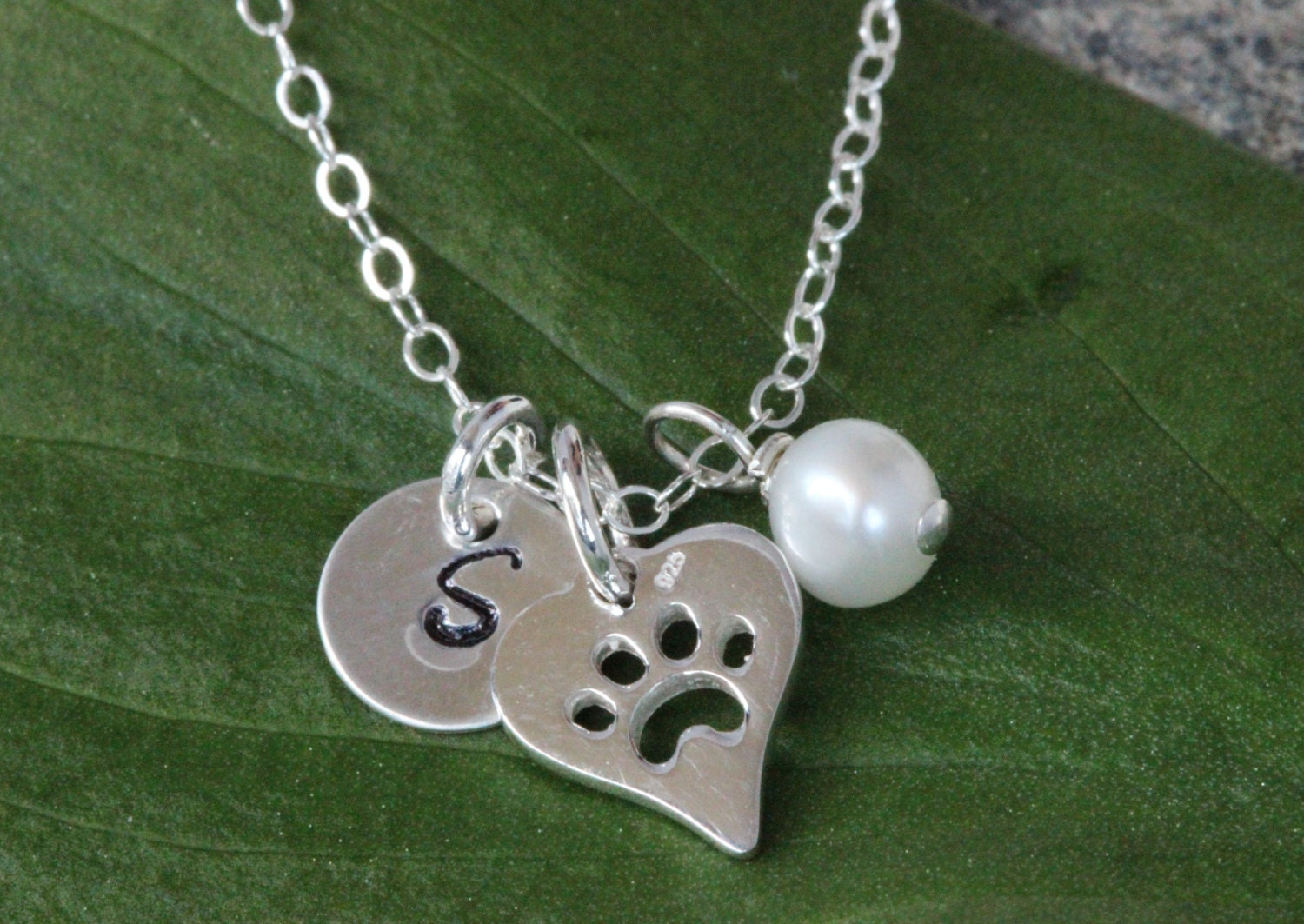sterling silver paw print necklace personalized paw with