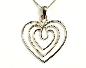 "Vintage Sterling Silver Open Heart Pendant / Necklace 18"""