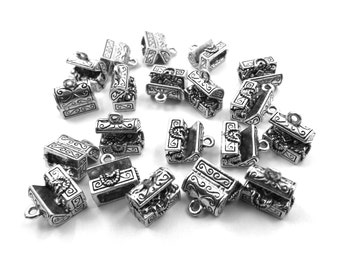 Set of Twenty (20) Silver Tone Pewter Treasure Chest Charms - 0062