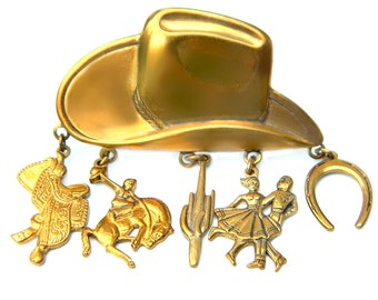 Cowboy Hat Charm Pin Rodeo 1940s Vintage Western Jewelry Featuring Bronco Saddle Cactus Square Dancer Horseshoe Charms Southwest Brooch