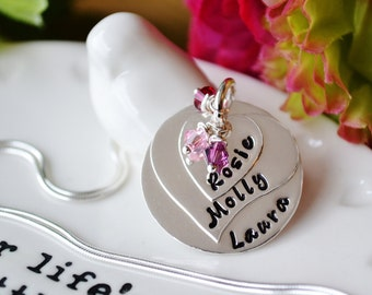 Mothers heart stack. personalised necklace UK