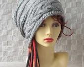 NEW YEAR SALE Hat Dreadlocks tam hat, dread beanie, dread accessory Dreadlocks Accessories, Slouchy Hat in Grey
