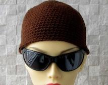 Mens personalized Guys Beanie Short Hair Hat Crocheted in Dark Coffee Brown