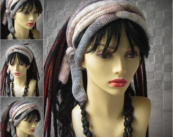Hand Knitted Dreadlock Headband Knit Turban Long Scarf Dread Accessories African Style