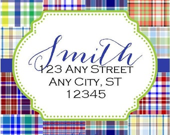 Preppy Madras Tropical Labels Stickers for Party Favors, Gift Tags, Address Labels