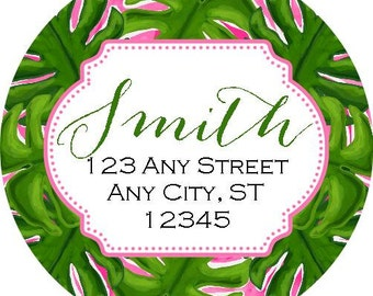 Tropical Monstera Round Address Labels Stickers for use as Gift Tags, Party Favors, Address Labels & Class Parties