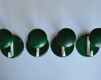 Vintage mid century wood and metal coat hooks. Set of 4. Green and white. Eames era. Danish modern. Coat and hat rack.