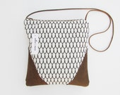 Leather and cotton purse leather and cotton shoulder bag cross body bag