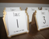 Art Deco Table Numbers Gold or Silver or Custom Color - Gatsby Weddings Roaring 20s Parties or any Special Occasions