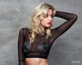 Black Mesh Boat Neck Crop Top With Vegan Leather X'es and Wide Elastic
