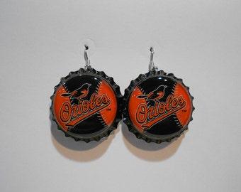 Baltimore Orioles bottle cap earrings