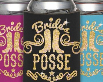 Cowgirl Bachelorette Can Cooler - Country Bachelorette Party Favors, Country Bachelorette Party, Bridal Party Favor,