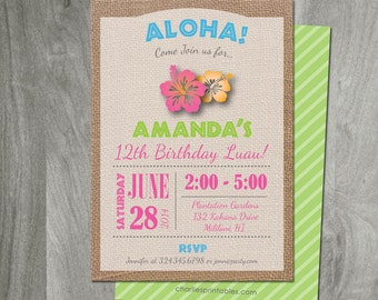 Hawaiian Luau Birthday, Digital JPEG or PDF File, Burlap, Diy Party Printable, Custom, Personalized, Baby Shower